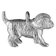 Cockerpoo Dog / Puppy Charm 3D Large Sterling Silver Charms